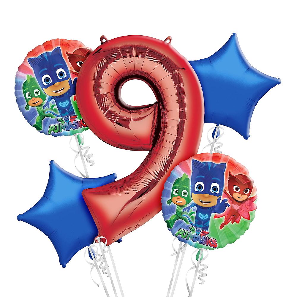 PJ Masks 9th Birthday Balloon Bouquet 5pc Image #1