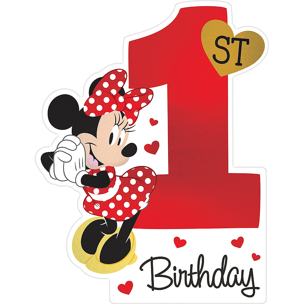 Premium 1st Birthday Minnie Mouse Invitations 8ct Image #1