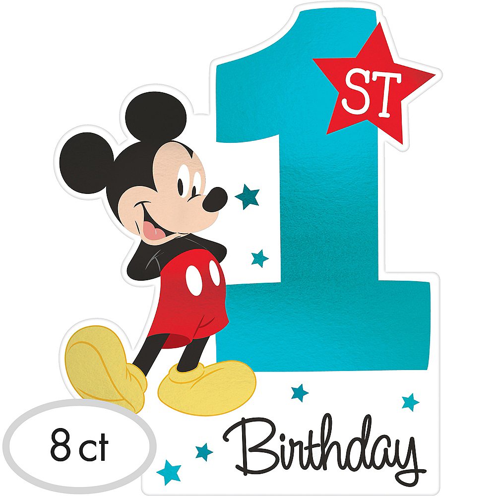 Premium 1st Birthday Mickey Mouse Invitations 8ct Image #1