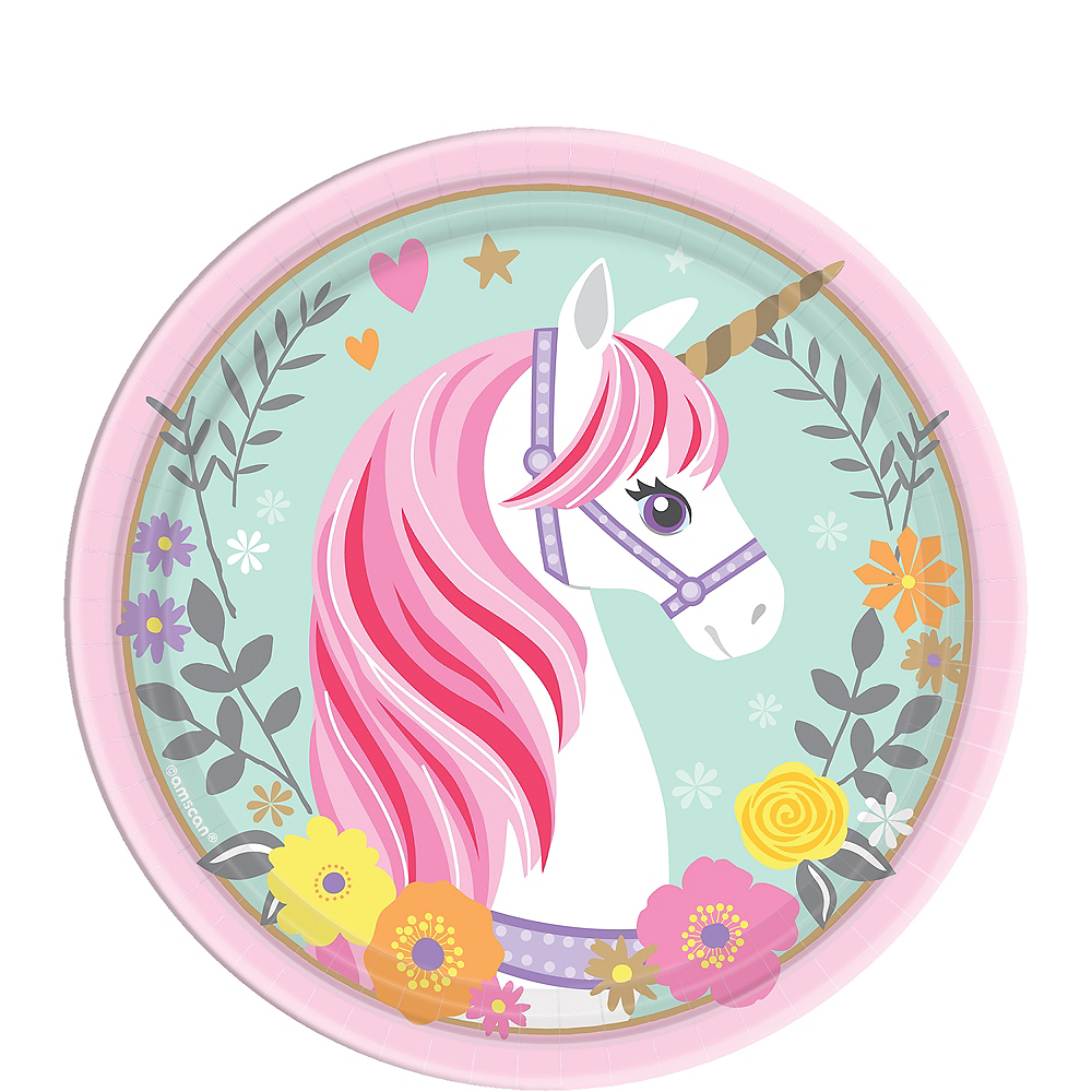 Nav Item for Magical Unicorn Dessert Plates 8ct Image #1