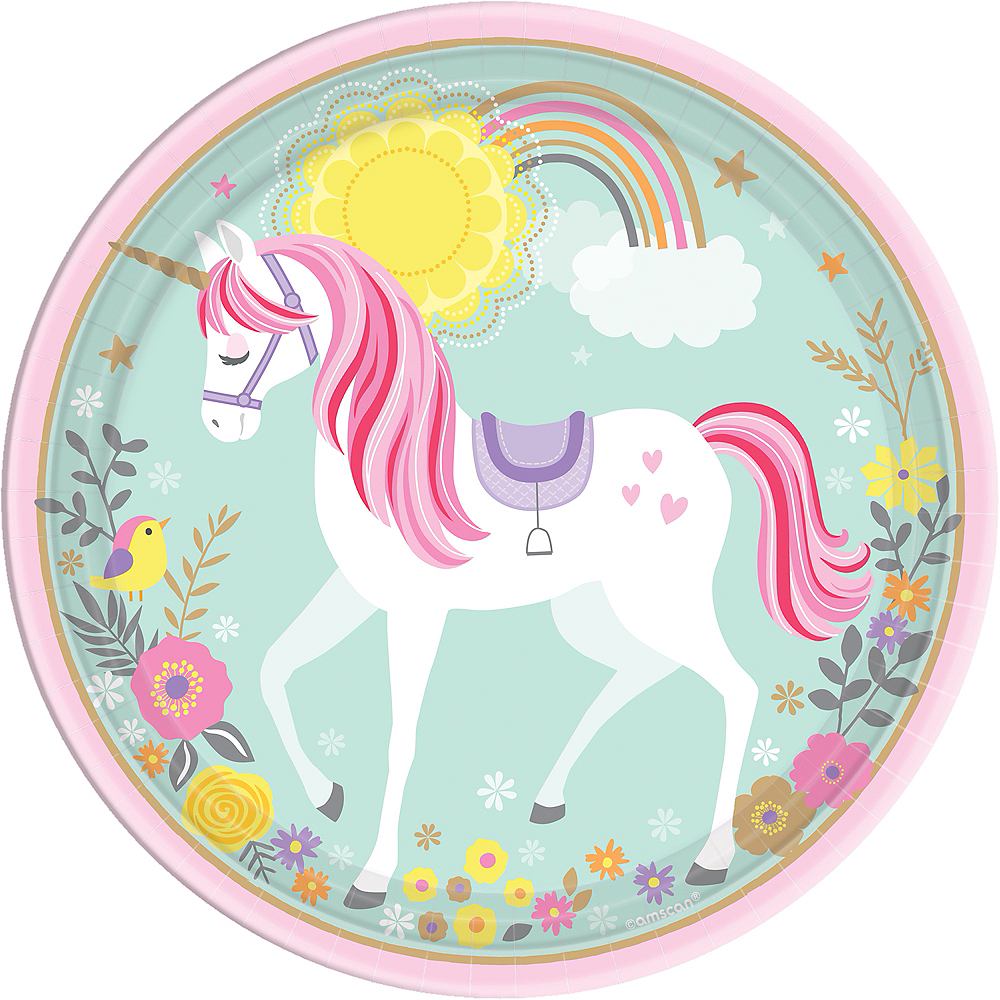 Magical Unicorn Lunch Plates 8ct Image #1