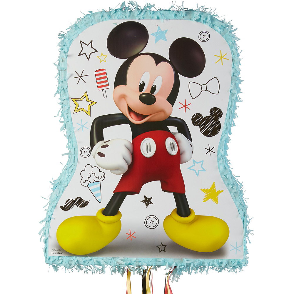 Pull String Light Blue Mickey Mouse Pinata Image #1