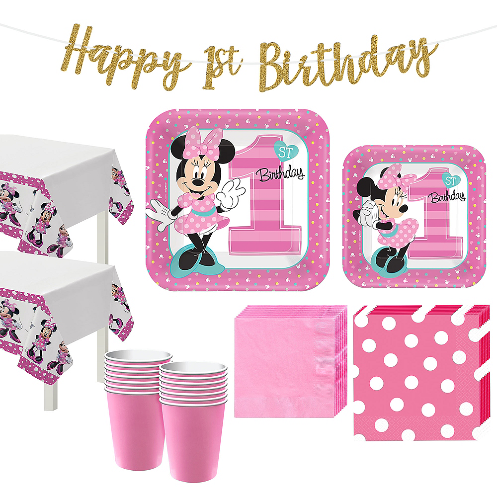 1st Birthday Minnie Mouse Party Kit For 16 Guests Image 1