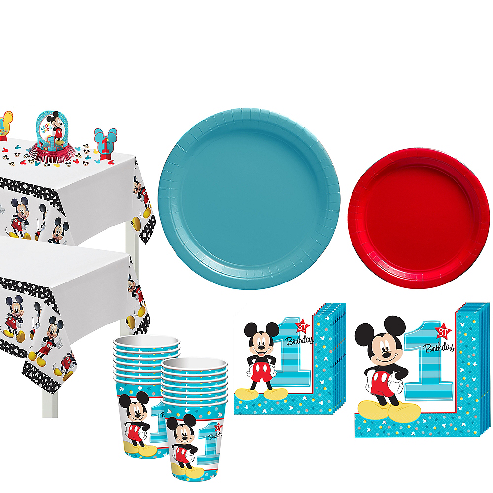 1st Birthday Mickey Mouse Party Kit for 16 Guests Image #1