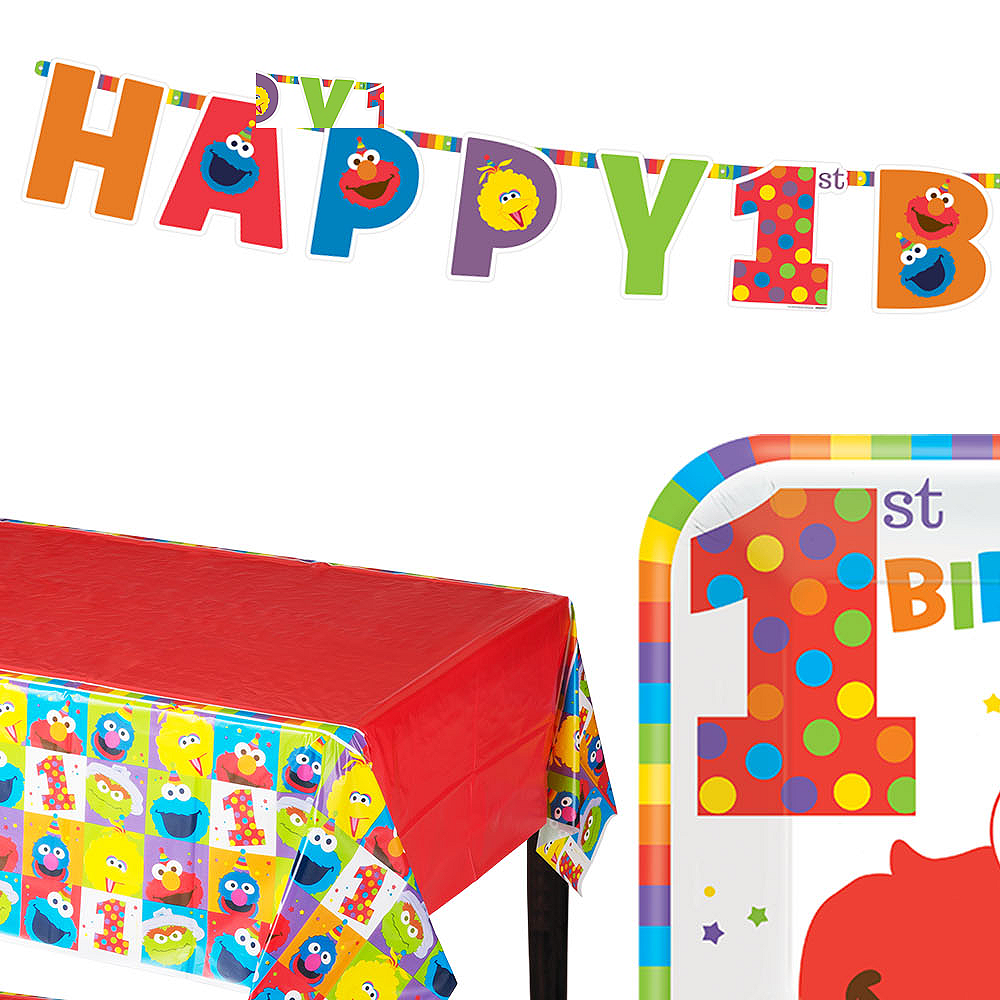 1st Birthday Elmo Party Kit For 16 Guests Image 1