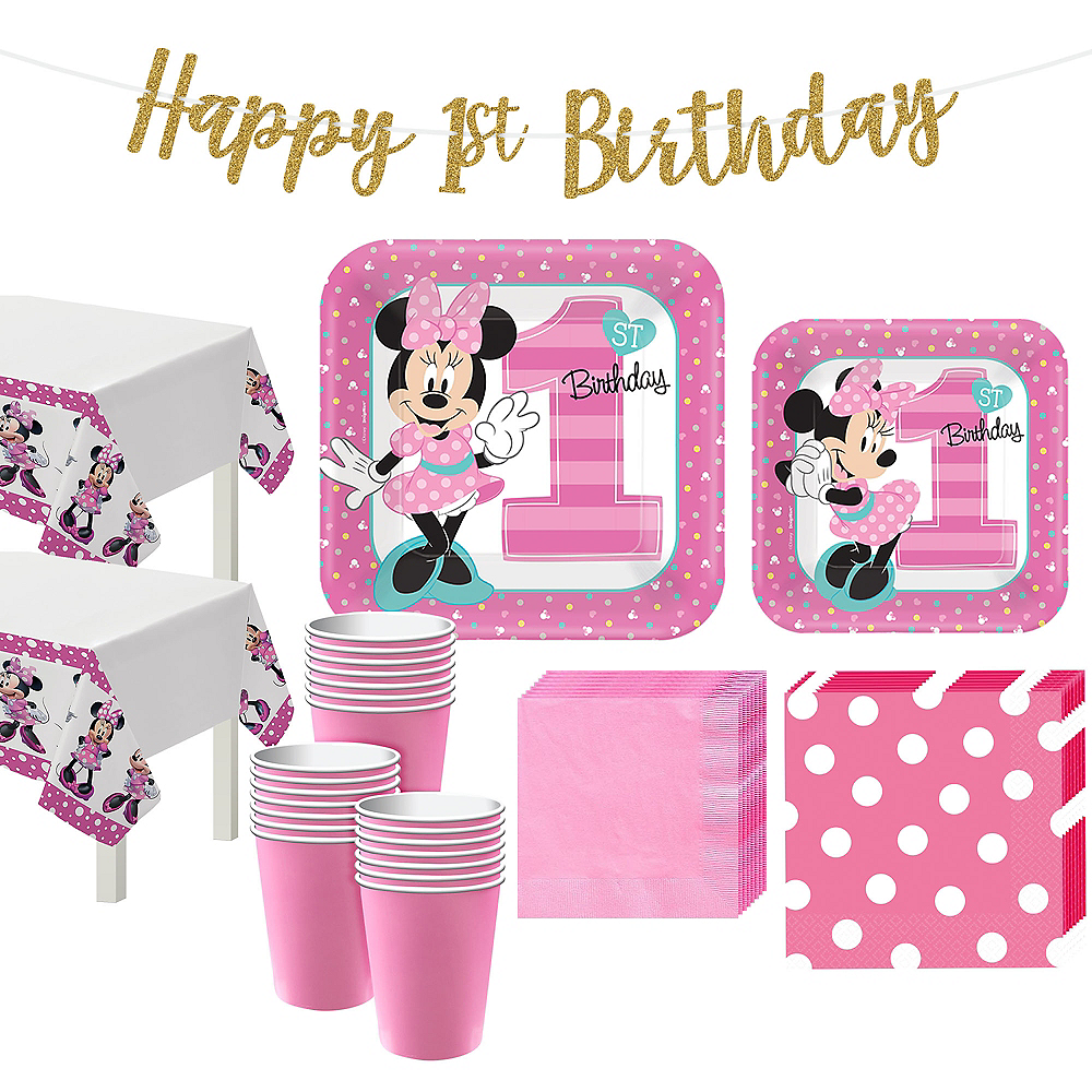 1st Birthday Minnie Mouse Party Kit for 32 Guests Image #1