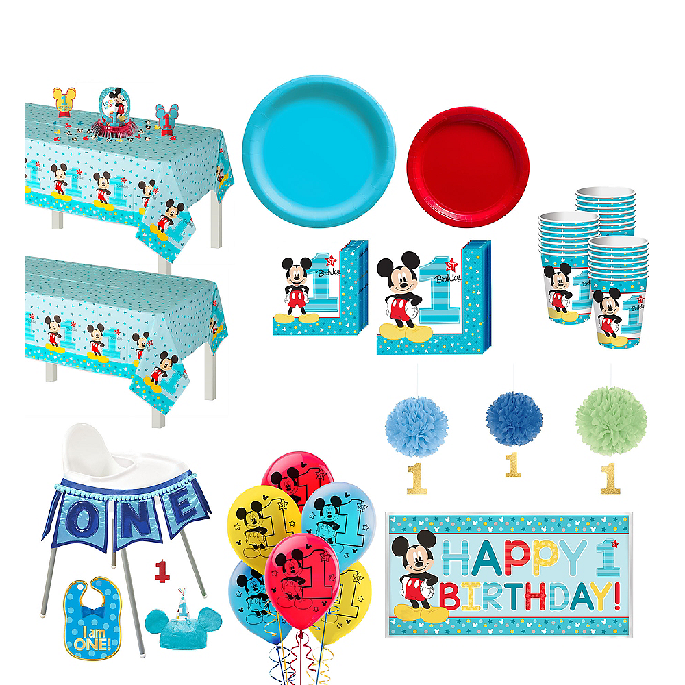 1st Birthday Mickey Mouse Deluxe Party Kit For 32 Guests Image 1