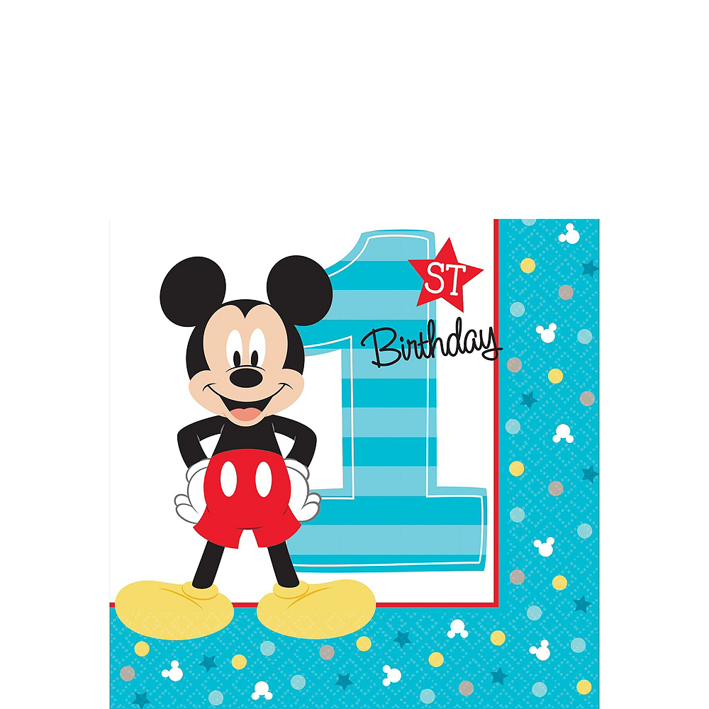 1st Birthday Mickey Mouse Deluxe Party Kit for 32 Guests Image #4