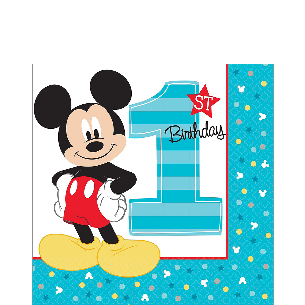 1st Birthday Mickey Mouse Deluxe Party Kit for 32 Guests Image #5