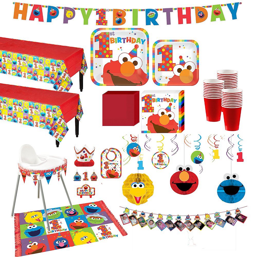 1st Birthday Elmo Deluxe Party Kit For 32 Guests Image 1
