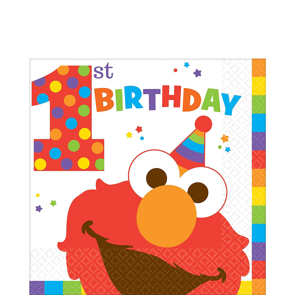 1st Birthday Elmo Deluxe Party Kit for 32 Guests Image #5