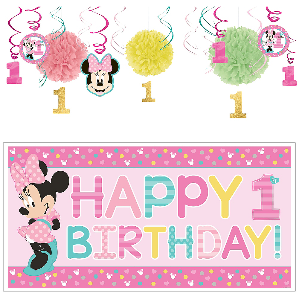 1st Birthday Minnie Mouse Decorating Kit Image #1