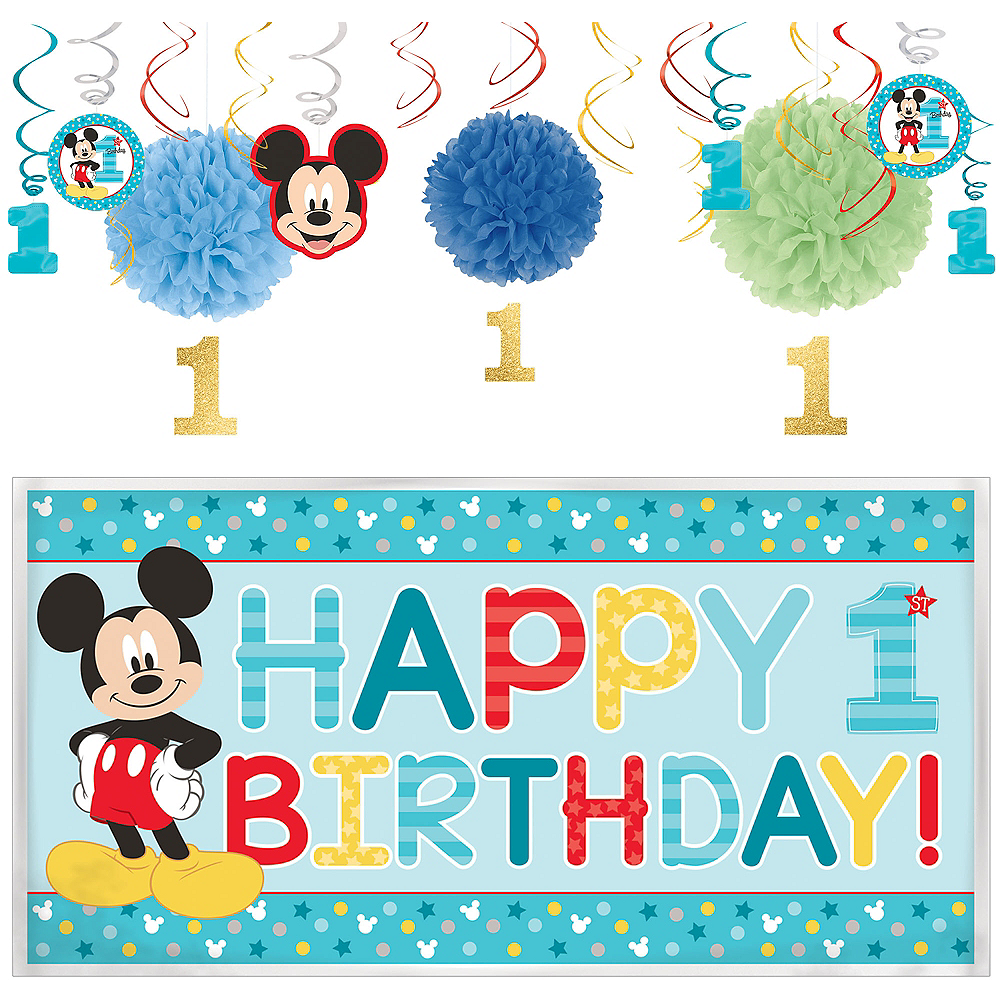 1st Birthday Mickey Mouse Decorating Kit Image 1