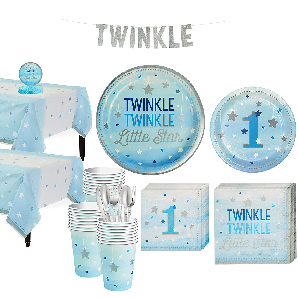 Blue Twinkle Twinkle Little Star 1st Birthday Party Kit for 32 Guests Image #1