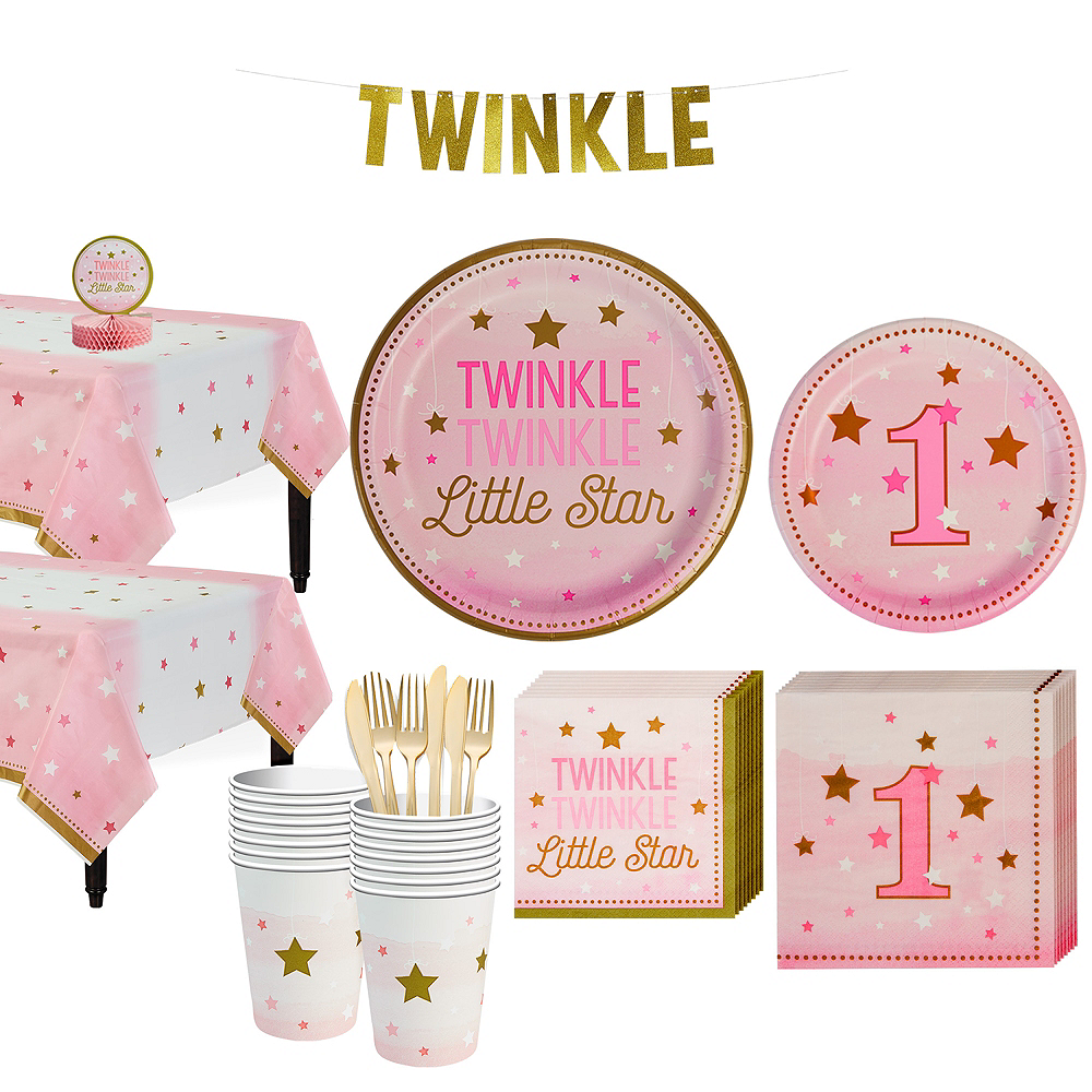 Pink Twinkle Twinkle Little Star 1st Birthday Party Kit for 16 Guests Image #1