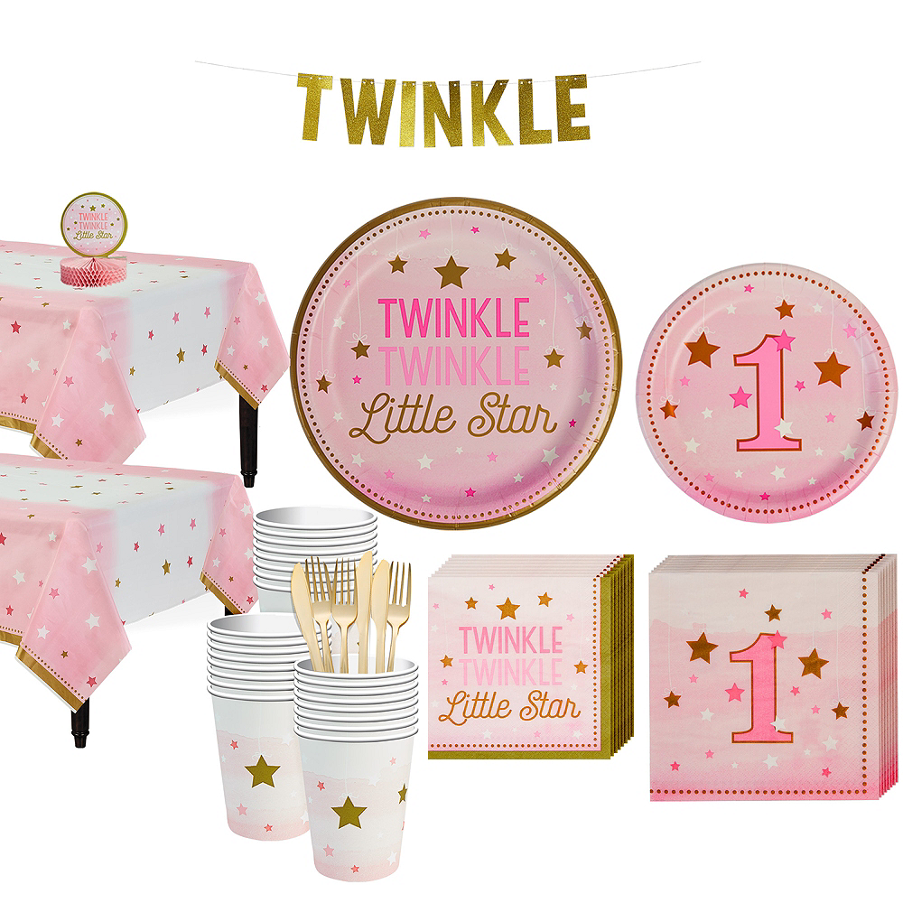 Nav Item For Pink Twinkle Little Star 1st Birthday Party Kit 32 Guests Image