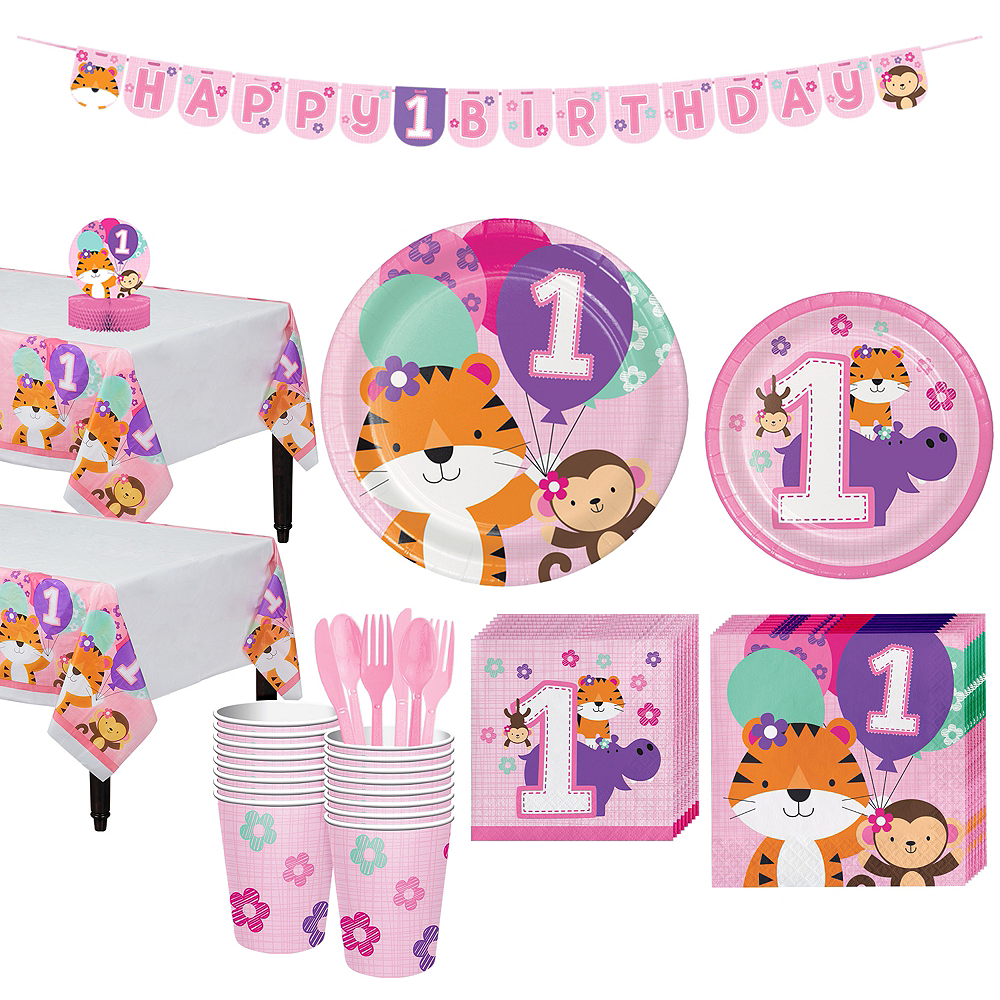 Nav Item for Pink One is Fun 1st Birthday Party Kit for 16 Guests Image #1