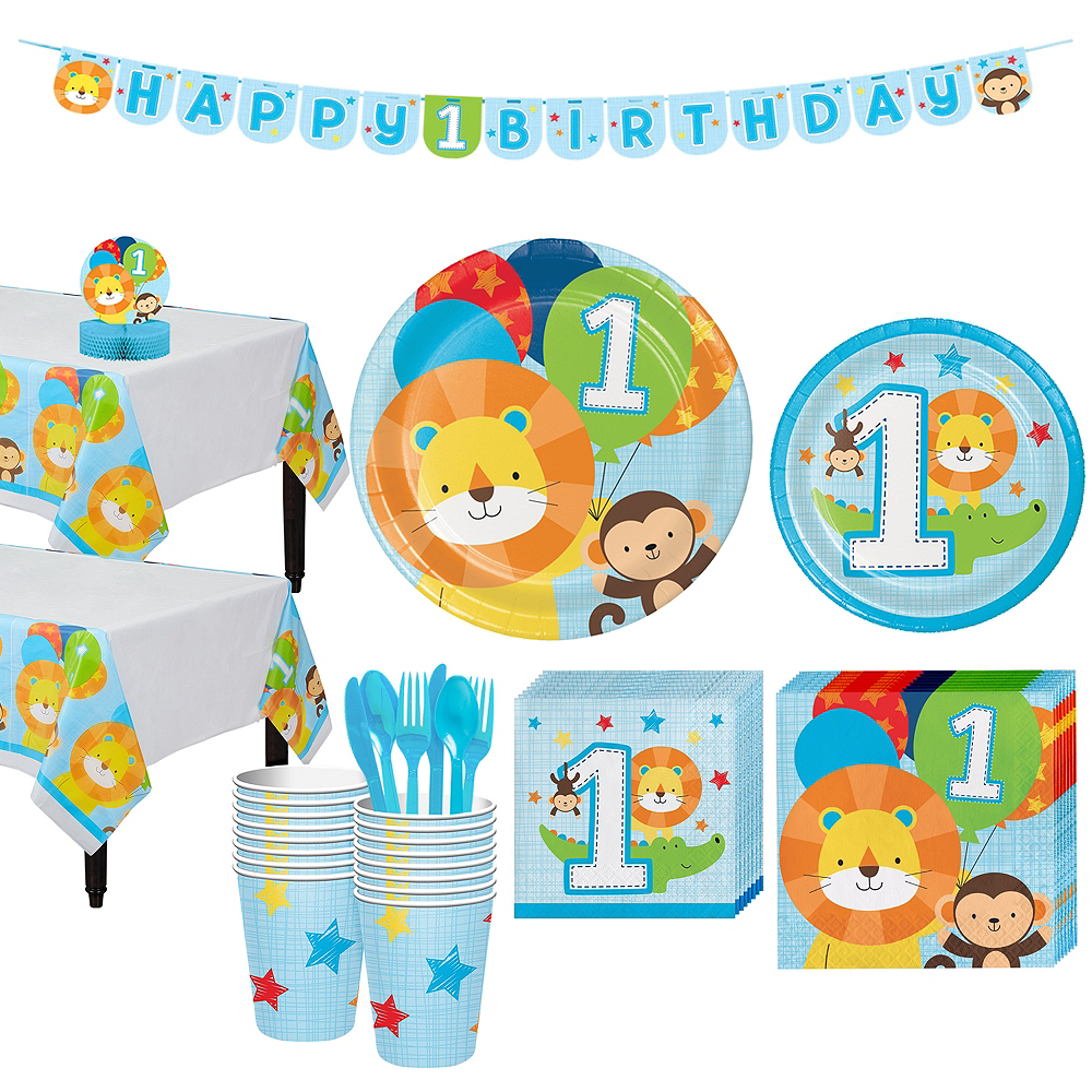 Blue One is Fun 1st Birthday Party Kit for 16 Guests Image #1