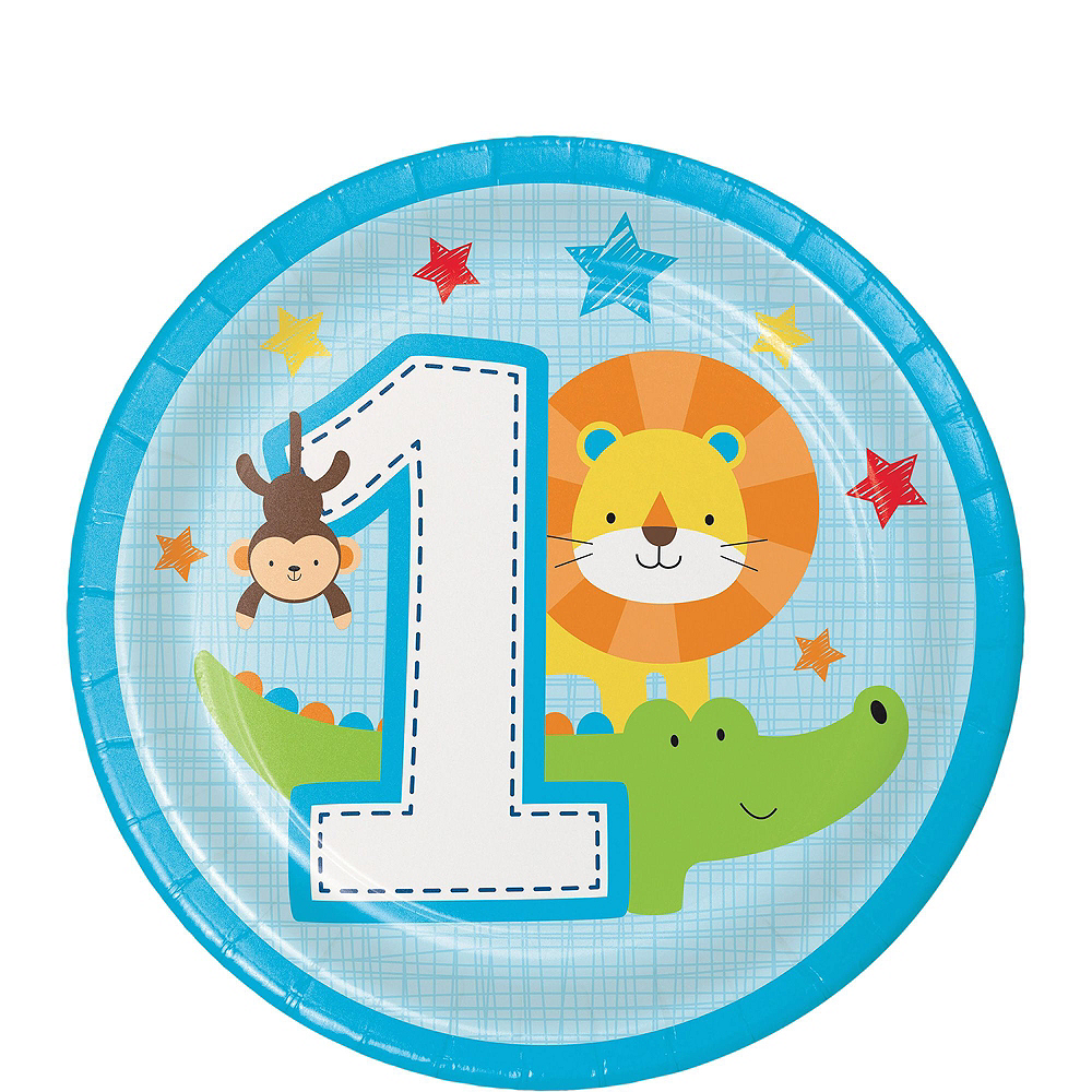 Blue One is Fun 1st Birthday Party Kit for 16 Guests Image #2