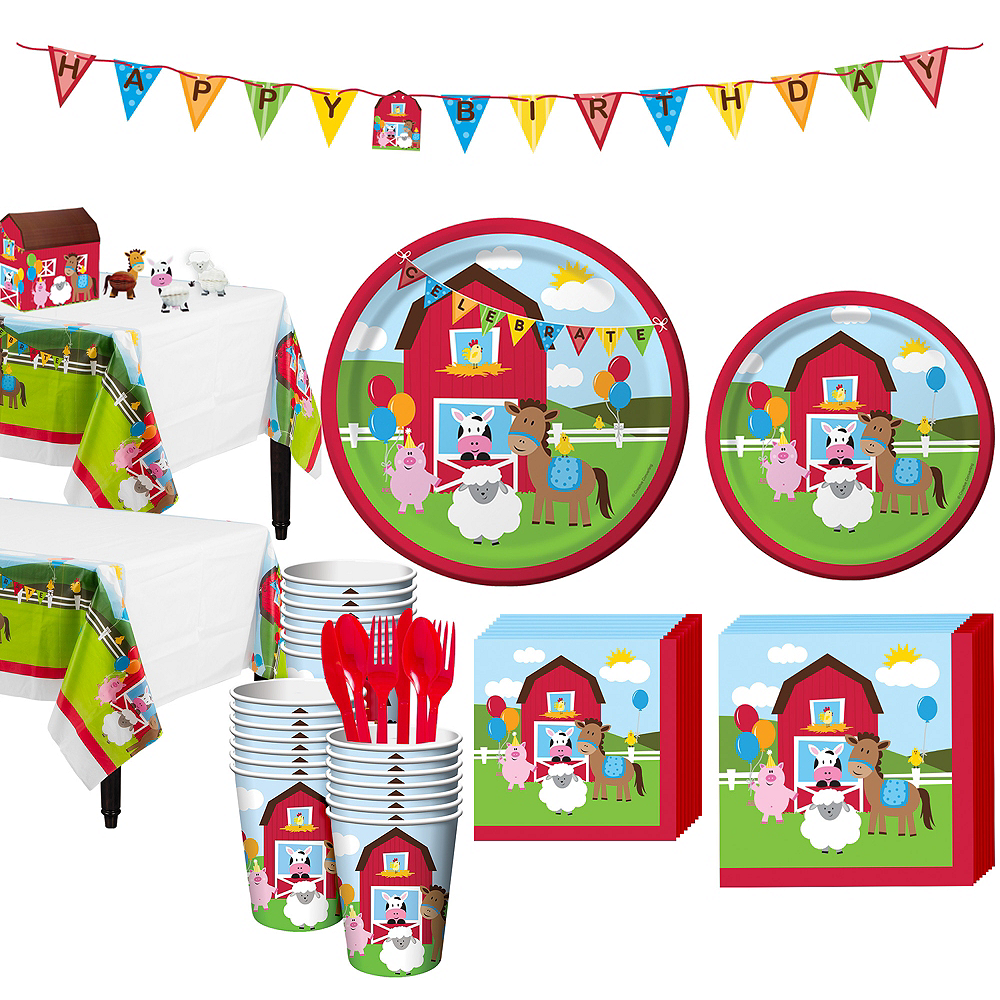 Farmhouse Fun 1st Birthday Party Kit for 32 Guests Image #1