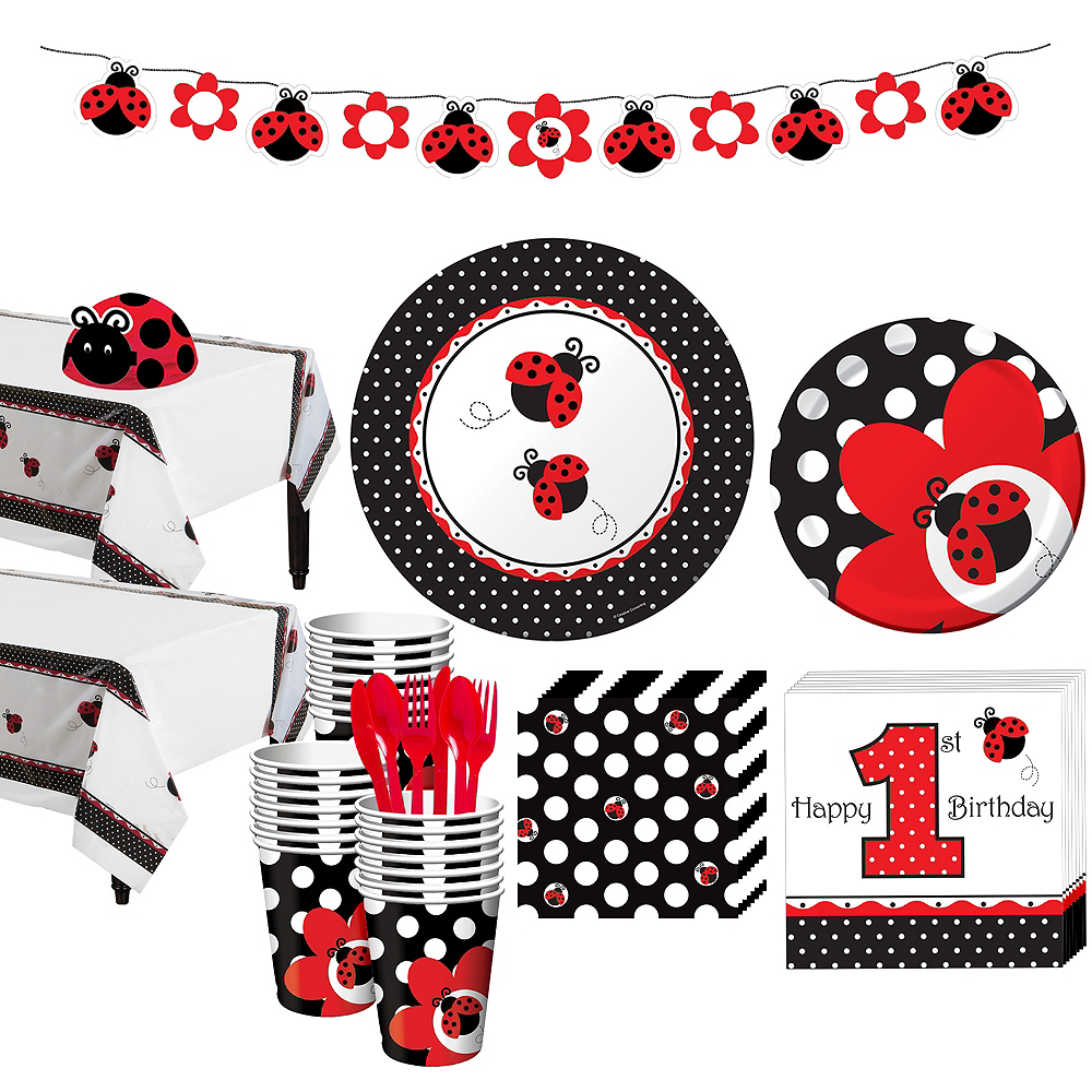 Fancy Ladybug 1st Birthday Party Kit for 32 Guests Image #1