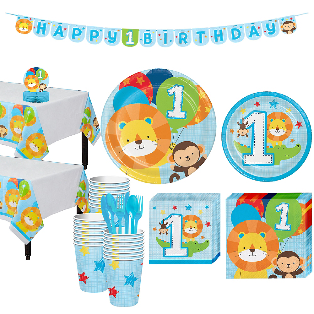 Blue One is Fun 1st Birthday Party Kit for 32 Guests Image #1
