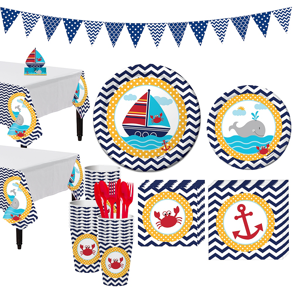 Ahoy Nautical 1st Birthday Party Kit for 32 Guests Image #1