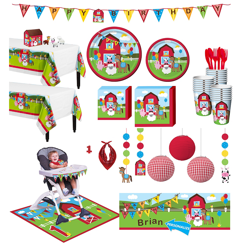 Farmhouse Fun 1st Birthday Deluxe Party Kit for 32 Guests Image #1