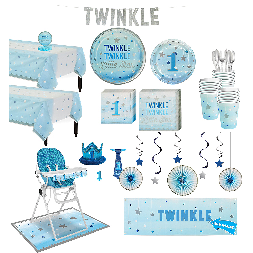 Blue Twinkle Twinkle Little Star 1st Birthday Deluxe Party Kit for 32 Guests Image #1