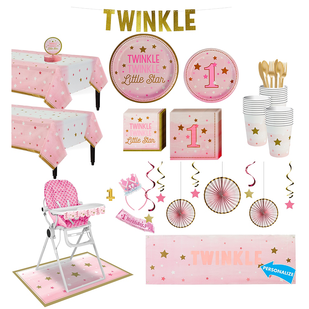 Pink Twinkle Twinkle Little Star 1st Birthday Deluxe Party Kit for 32 Guests Image #1
