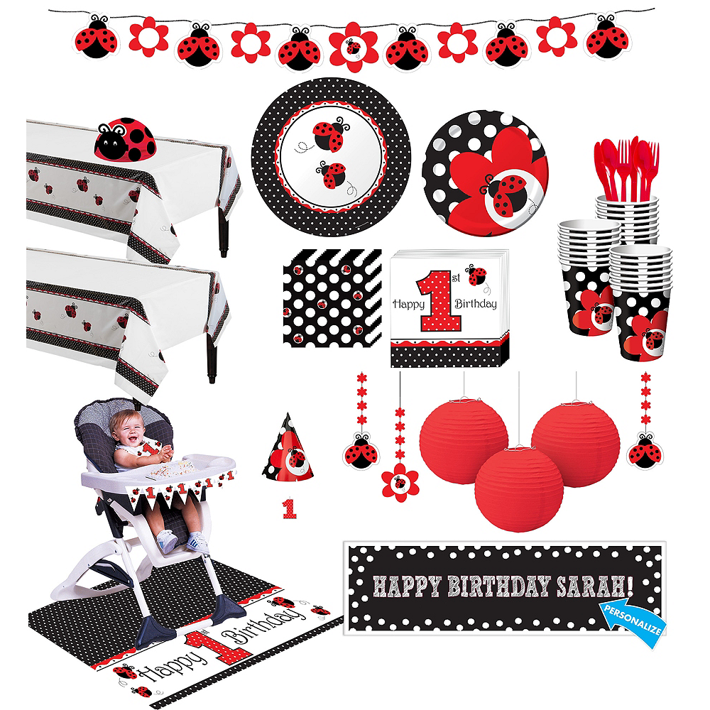 Fancy Ladybug 1st Birthday Deluxe Party Kit for 32 Guests Image #1