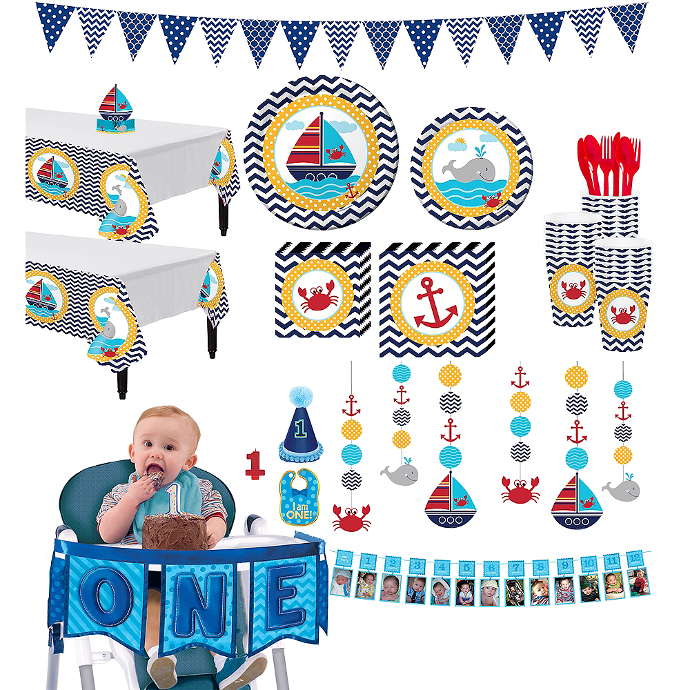 Ahoy Nautical 1st Birthday Deluxe Party Kit For 32 Guests Image 1