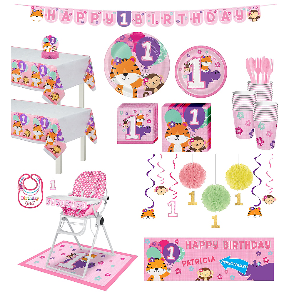 Pink One is Fun 1st Birthday Deluxe Party Kit for 32 Guests Image #1