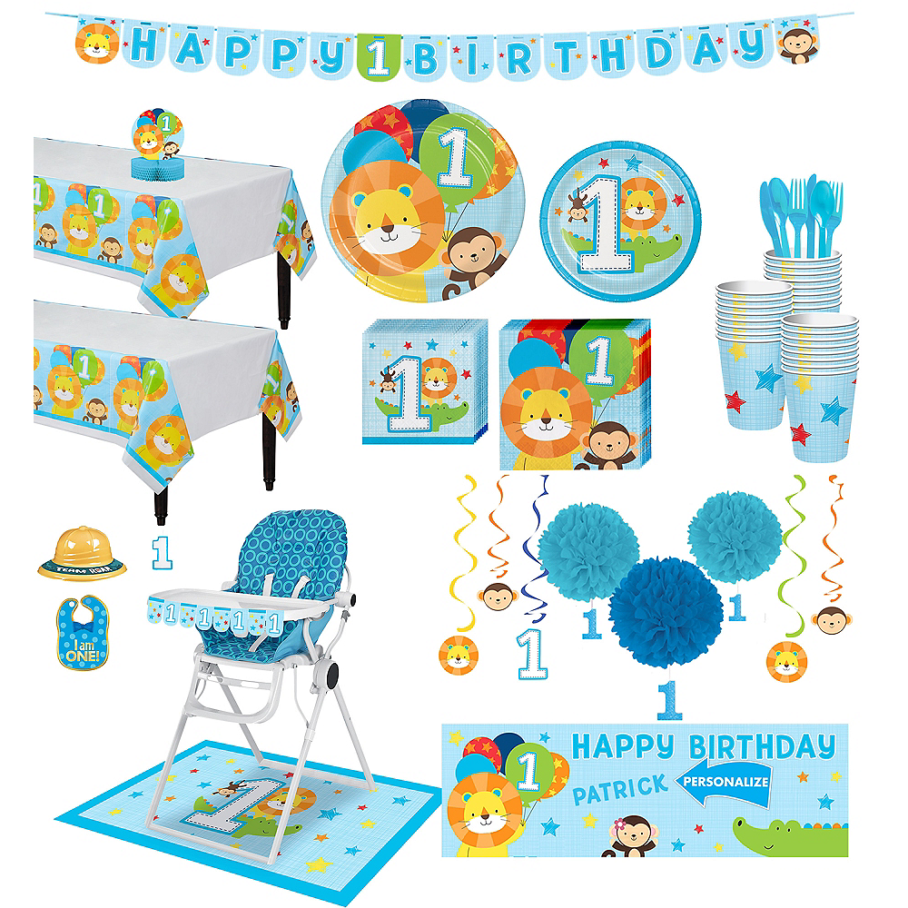 Blue One is Fun 1st Birthday Deluxe Party Kit for 32 Guests Image #1