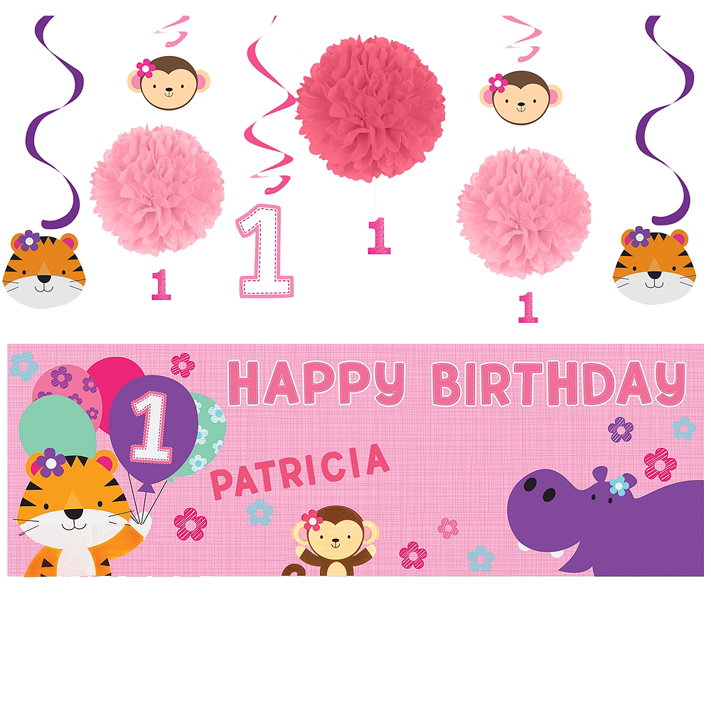 Pink One is Fun 1st Birthday Decorating Kit Image #1