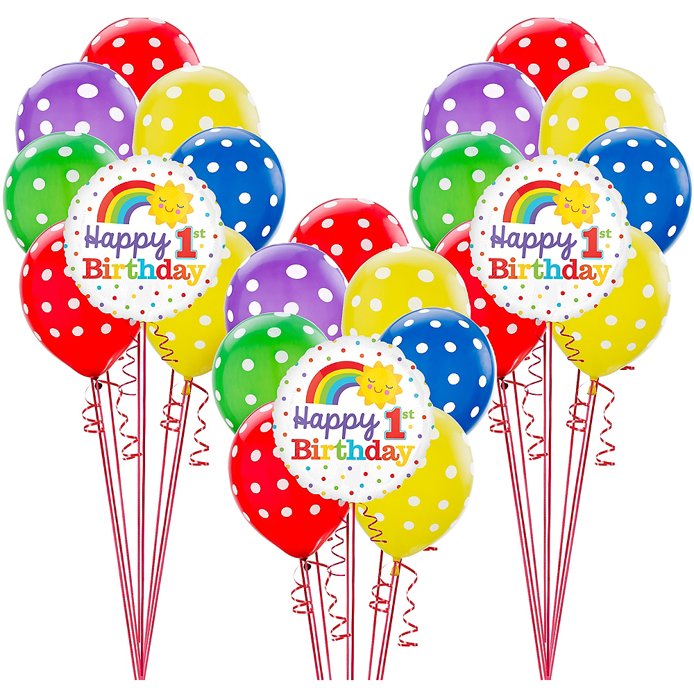 Rainbow 1st Birthday Balloon Kit Image #1