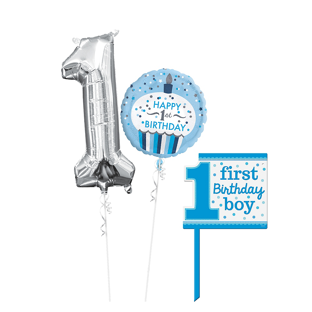 Nav Item For Polka Dot Boy 1st Birthday Yard Sign Kit With Balloons Image 1