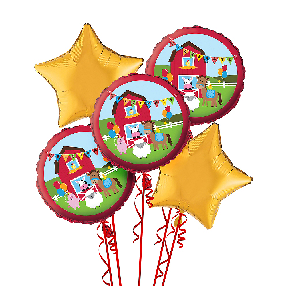 Farmhouse Fun Birthday Balloon Bouquet 5pc Image #1