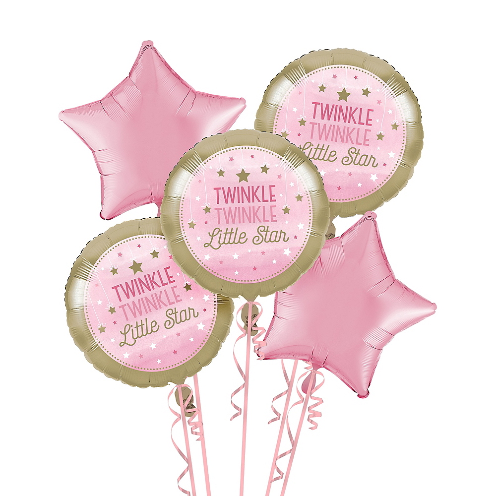 Pink Twinkle Twinkle Little Star Balloon Bouquet | 1st Birthday ...