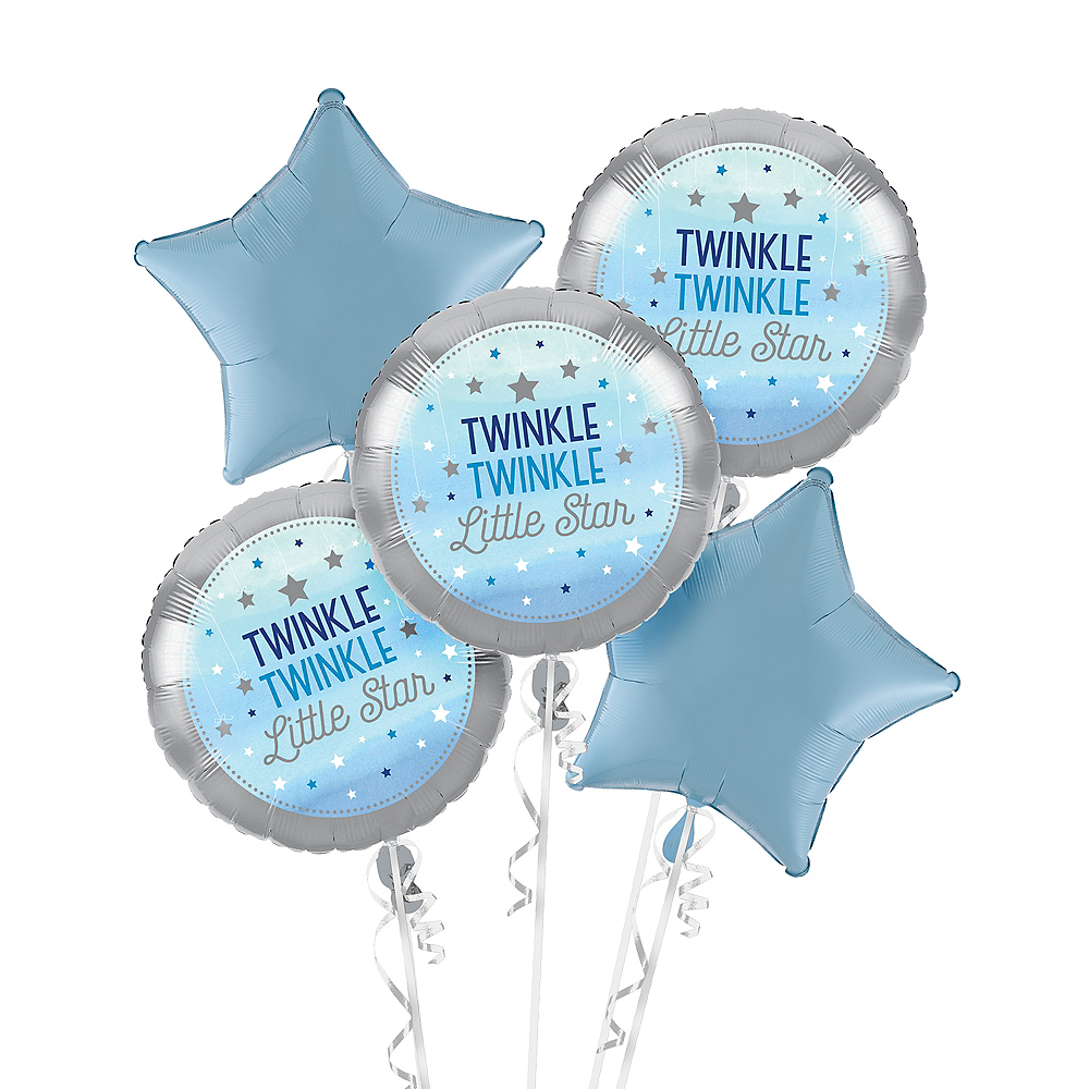 Blue Twinkle Twinkle Little Star Balloon Bouquet Image #1