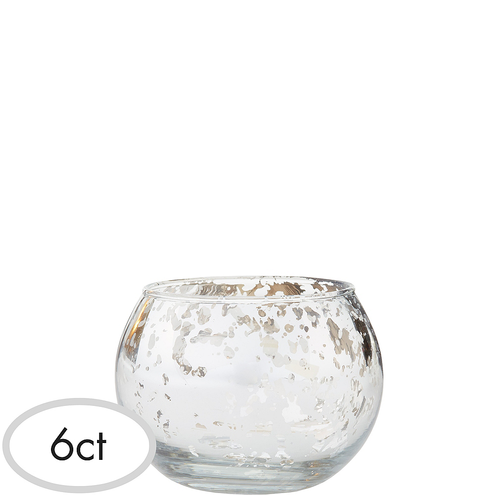 Silver Round Mercury Glass Votive Candle Holders 6ct Party City