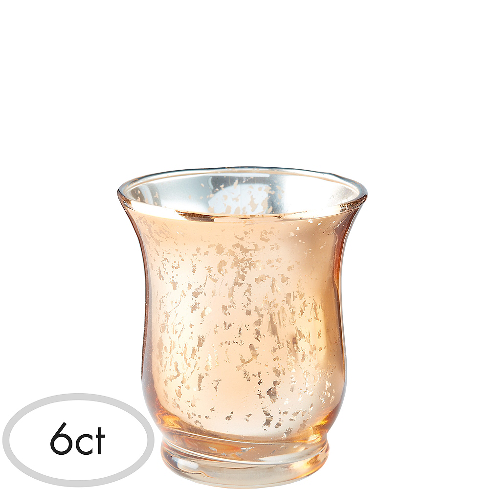 Rose Gold Hurricane Mercury Glass Votive Candle Holders 6ct Party