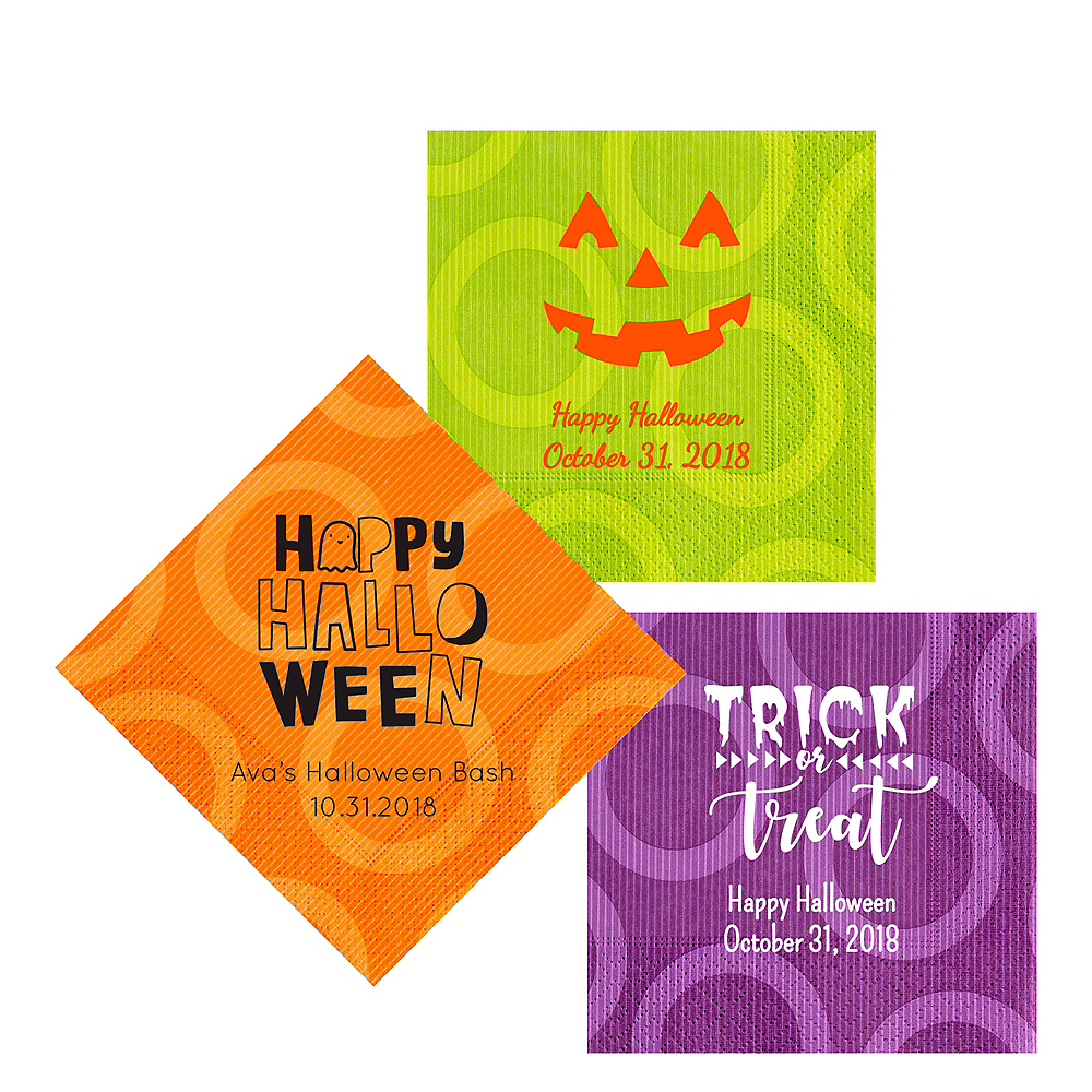 Personalized Halloween Circles Lunch Napkins Image #1