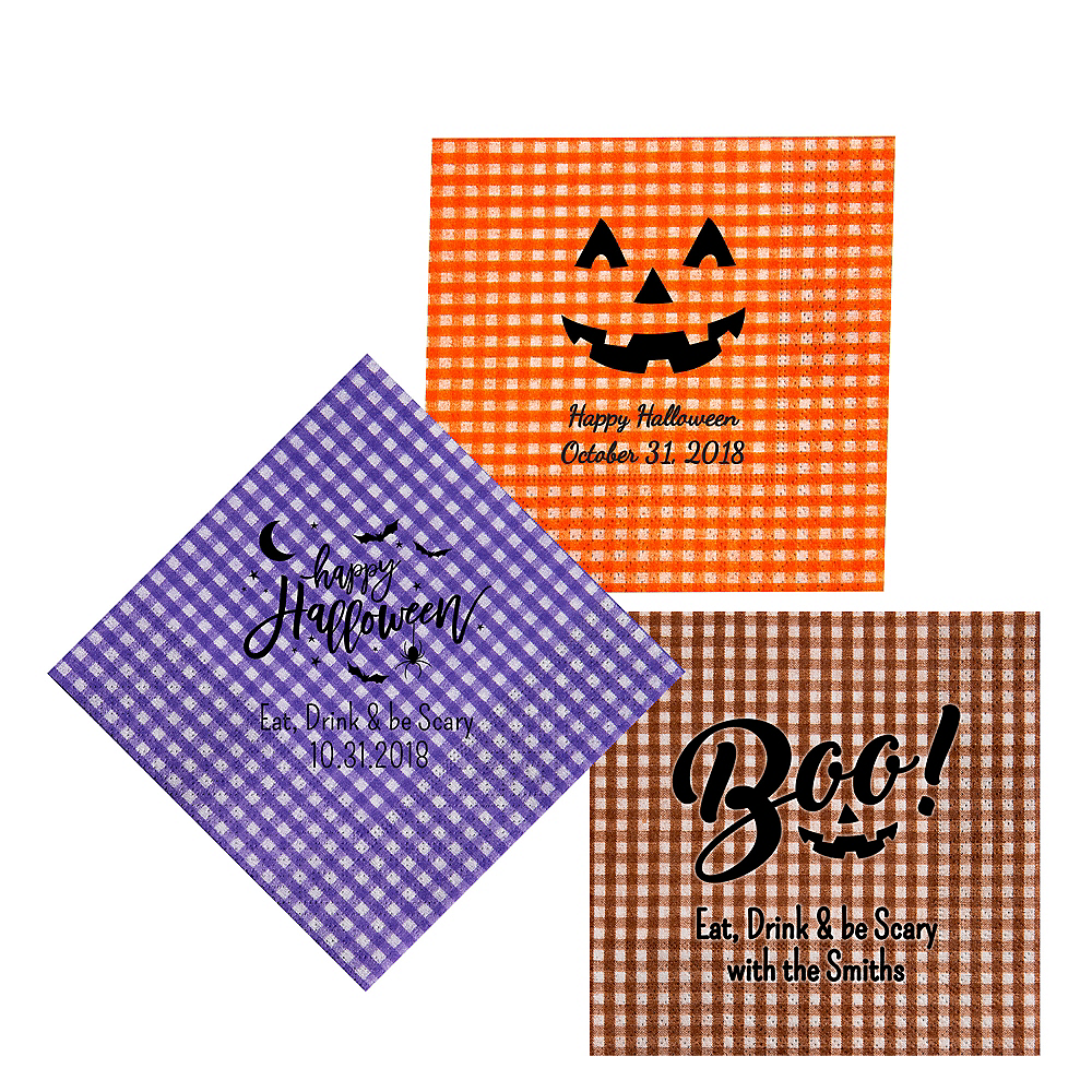 Personalized Halloween Gingham Lunch Napkins Image #1