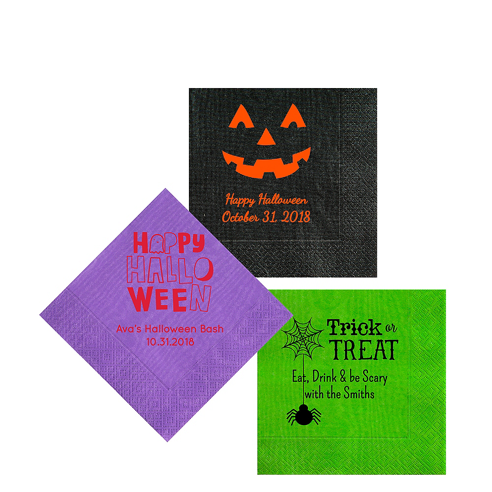 Personalized Halloween Moire Beverage Napkins Image #1
