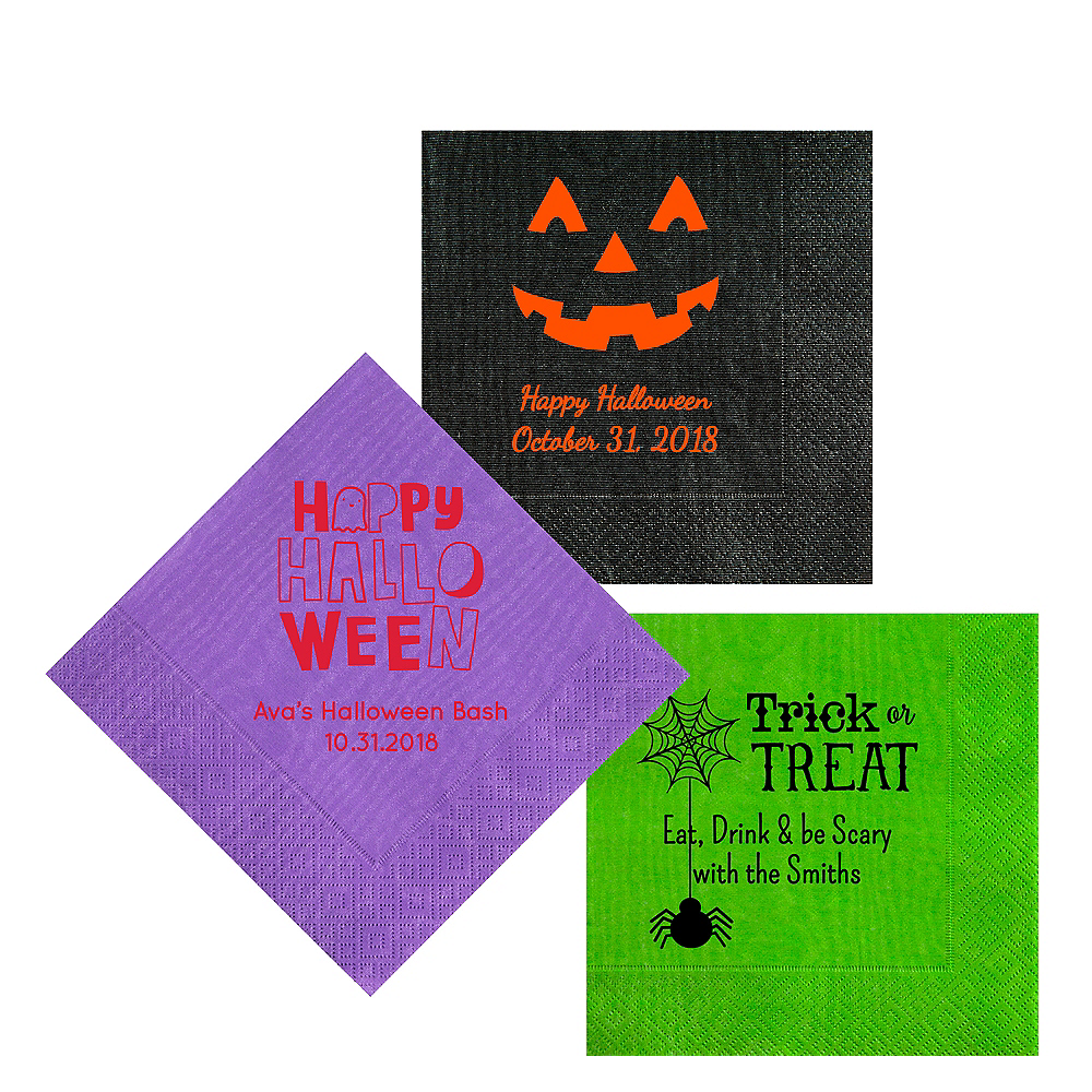 Personalized Halloween Moire Lunch Napkins Image #1