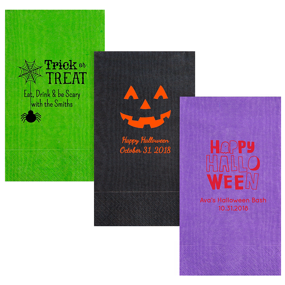 Personalized Halloween Moire Guest Towels Image #1