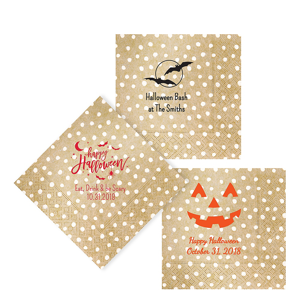 Personalized Halloween Small Dots Lunch Napkins Image #1