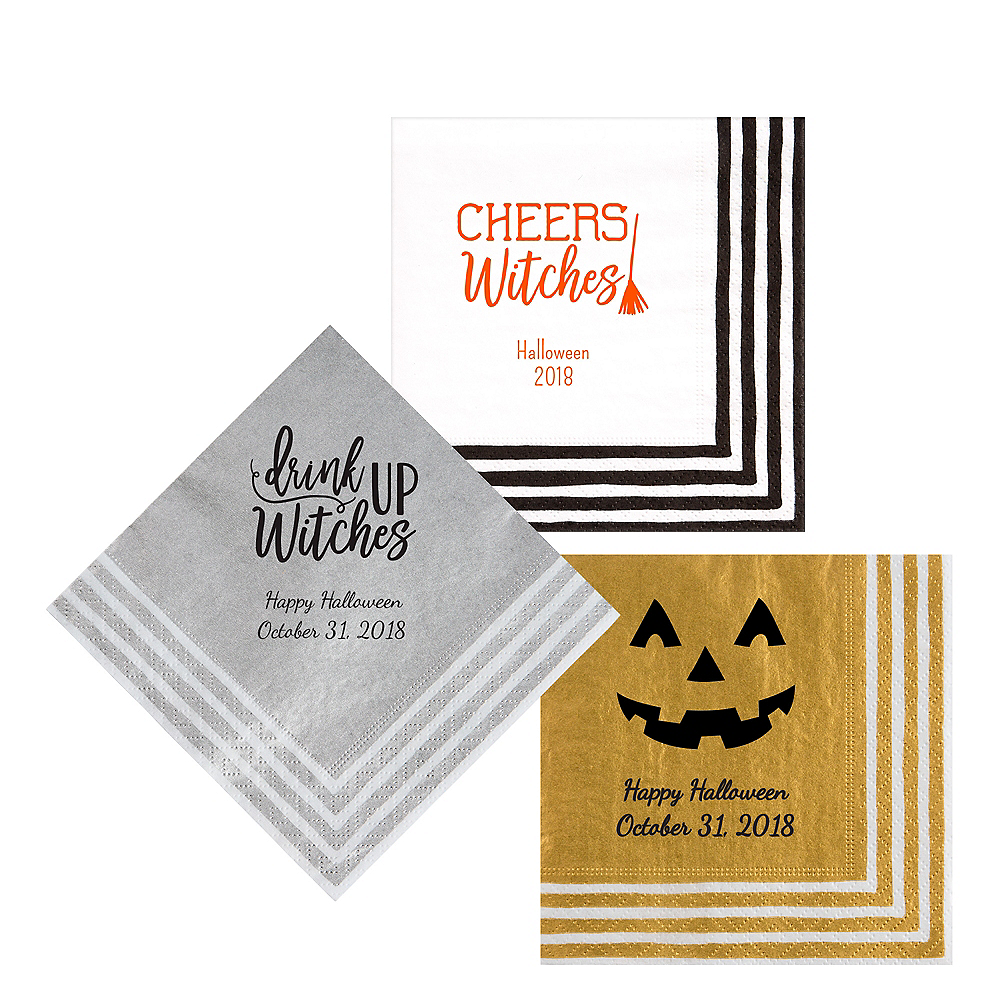 Personalized Halloween Stripe Border Lunch Napkins Image #1