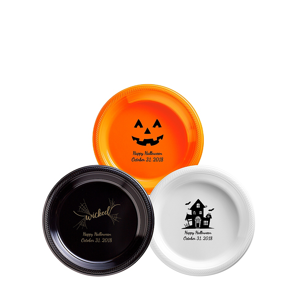 Personalized Halloween Plastic Dessert Plates Image #1